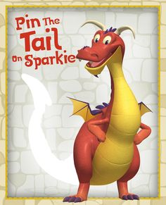Having a Mike the Knight themed party? Play a roaring game of Pin the Tail on Sparkie! Harry Birthday, 3rd Birthday, Birthday Ideas, Birthday Lunch, Dragon Birthday Parties, Dragon Party, Mike The Knight, Medieval Party, Knight Party