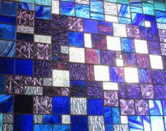 Stained Glass   Window Panel    big bang  BLUES AND PURPLES  Custom Ordered