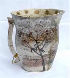 Wonderful new embroidered ceramics by Jacqueline Leighton Boyce.