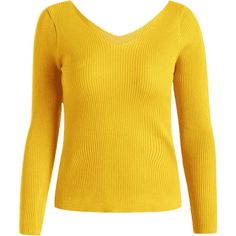 V Neck Long Sleeve Knitted Top Yellow ($16) ❤ liked on Polyvore featuring tops, sweaters, long sleeve sweater, v neck long sleeve top, extra long sleeve sweater, yellow long sleeve top and long sleeve tops