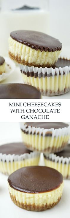 Mini Cheesecakes with Dark Chocolate Ganache. The mini version of a classically rich cheesecake topped with a smooth oh-so-good mixed milk and dark chocolate ganache! Mini Desserts, No Bake Desserts, Just Desserts, Delicious Desserts, Dessert Recipes, Yummy Food, Mini Cakes, Cupcake Cakes, Kreative Desserts