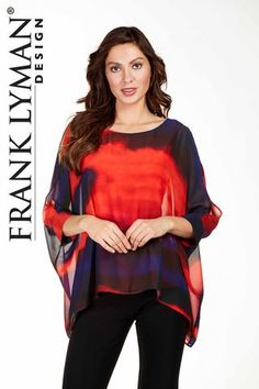 Frank Lyman 2017. Bright vivid colours with fashionable kimono sleeve. proudly Made in Canada