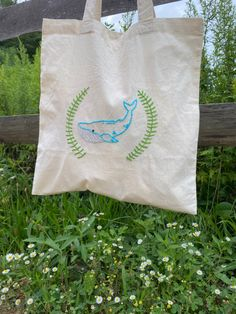 Tote bag hand embroidery geometric art hand stitched canvas bag eco friendly butterfly