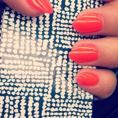 Blood orange short almond nails #nails #nailart