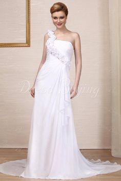 Fashion Empire Sweetheart Floor-length Chapel Beaded Wedding Dress