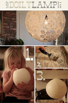 Lace Lamp/Doily Lamp - DIY from Dos Family. Click through for instructions. I adore this idea! It would even look great as just hanging orbs without a bulb. Diy Projects To Try, Craft Projects, Diy Lace Projects, Outdoor Projects, School Projects, Diy Luz, Doily Lamp, Lace Lampshade, Crochet Lampshade