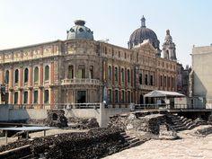 Beautiful European Architecture with Templo Mayor Aztec Ruins, Historic Centre, Mexico City, Mexico