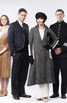 "Essie Davis, second from right, for Miss Fisher's Murder Mysteries. I just realized the police guy is the same guy she worked with in the other Australian series, ""Cloudstreet."""