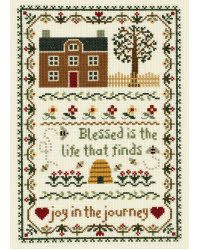 """Blessed is the life that finds joy in the journey.  This design, measuring 7.75"""" x 11.25"""", captures simple elegance in a counted cross stitch piece.  The kit contains 14-count cotton Aida fabric, 6-strand corded 100% cotton floss, needle, graph and multi-lingual instructions."""
