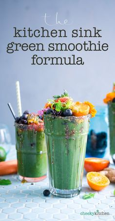 """How to make a perfect green smoothie every time. Without a recipe. """"The  Kitchen Sink Formula"""" is my go-to green smoothie trick for using up all  that ripe fruit left in the fridge."""