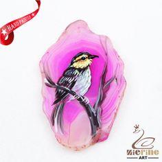 Hand Painted Bird Agate Slice Gemstone Necklace Pendant Jewlery D1708 0801 #ZL #Pendant