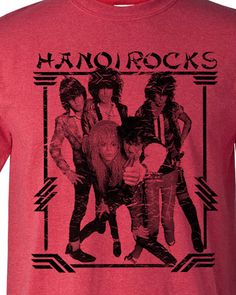 Hanoi Rocks distressed T-shirt Heavy Metal Glam Rock red tee - T-Shirts, Tank Tops Glam Metal, Gothic Metal, Metal T Shirts, Rock Shirts, Hair Metal Bands, Metal Hair, Hair Band, 80s Heavy Metal, Hanoi Rocks