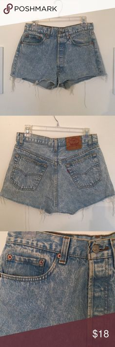 Levi cut off shorts Lightly worn Levi's cut off shorts bought from John Galt with 5 button closure instead of zipper Levi's Shorts Jean Shorts