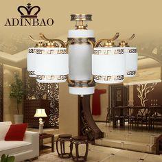 Rutro Copper Chandelier Lamp Chinese Traditional Style Glass chandelier For Restaurant Hotel Livnig Room 8024-5