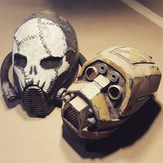 2 years of wasteland weekend 2 masks made. Excited to make my next mask for 2017. #wastelandweekend #wastedsaints #postapocalyptic #mask #helmet #armor #art #sculpture #fiberglass #resin #leatherwork #fabrication #painting #weathering #gasmask #smoothon