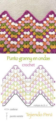 Crochet: diagrama del punto granny en ondas!