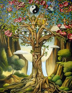 "let everything we do and say be an expression of the beauty in our hearts, always based on love ♥ Don Miguel Ruiz ""Tree of Life"" by GARY SOSZYNSKI Fantasy Kunst, Fantasy Art, Art Hippie, Hippie Boho, Hippie Life, Art Sculpture, Wow Art, Visionary Art, Psychedelic Art"
