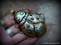 """Gorgeous Fair Trade """"Beetle/Scarab"""" Focal Bead Pendant of White Metal Repousse Copper Dots Nepalese Tribal by TemplesTreasureTrove on Etsy"""
