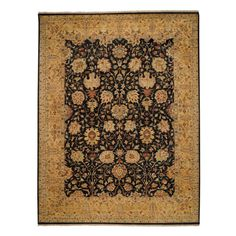 Boca Park-Mahal 1774 Hand Knotted Rectangle Area Rug - Onxy/Gold - 1774RS02000300350