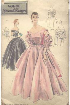 Patron Couture Robe ET Châle 1956 Vintage Vogue B30'' R519 | eBay