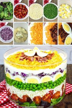 7 Layer Salad Recipe (With Video!) This 7 Layer Salad combines fresh veggies, hand mixed dressing, and delectable toppings for a fulfilling meal! Good luck keeping eyes and forks at bay! Appetizer Recipes, Salad Recipes, Appetizers, Seven Layer Salad, Soup And Salad, Pasta Salad, Tortellini Salad, Ham Salad, Fish Salad