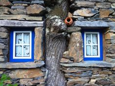 Windows with a lucky tree, Foz D'Égua, Portugal Arched Windows, Windows And Doors, Portuguese Culture, Earthship, Through The Window, Stone Houses, Window Sill, Window Art, Beautiful Buildings