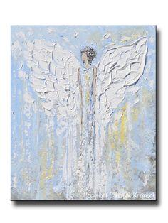 GICLEE PRINT Art Abstract Angel Painting Christmas Decoration White Light Blue Gold Wall Art Home Decor Spiritual Art - Christine Krainock от ChristineKrainock
