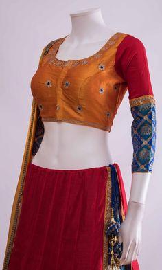 Silk Chania with designer brocade blouse and contrast dupatta Choli Blouse Design, Saree Blouse Neck Designs, Fancy Blouse Designs, Blouse Patterns, Skirt Patterns, Coat Patterns, Clothes Patterns, Bridal Dresses, Wedding Dress