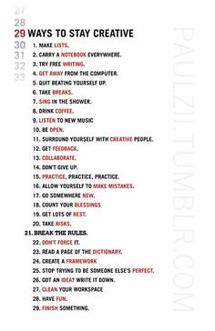 ways to stay creative :)
