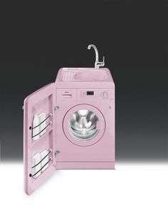 Smeg 50's Retro Style 60cm Washing Machine with Sink, Pink Energy Rating A+B