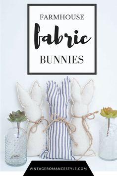 ticking stripe, fabric bunnies, fabric bunny, diy farmhouse easter décor, farmhouse, easter décor, easter sewing, easy sewing project, diy sewing pattern, bunny pattern, drop cloth sewing