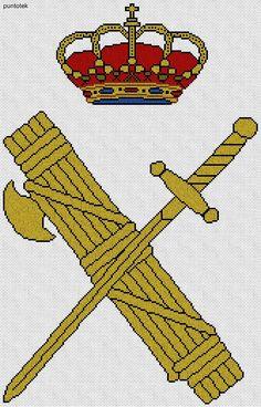 Escudo de la Guardia Civil EN PUNTO DE CRUZ