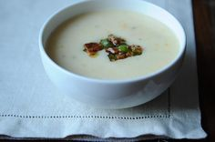 Creamy Potato Soup with Bacon Vinaigrette Potato Bacon Soup, Creamy Potato Soup, Loaded Baked Potato Soup, Potato Dishes, Bacon Recipes, Soup Recipes, Dinner Recipes, Vegetarian Recipes, Kitchen