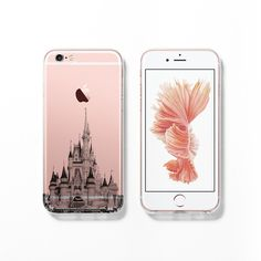Show off your new rose gold iPhone 6s with this Disney castle clear / transparent case!