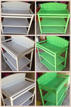 Baby changing table turned into an outdoor potting bench with Maison Blanche chalk based paint available at Luxury For Less in Ponte Vedra Outdoor Potting Bench, Baby Changing Tables, Small Space Gardening, Garden Sheds, Small Spaces, Upcycle, Window, Gardens, Outdoor Furniture