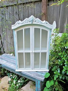 Vintage Beach Cottage Decor White Cabinet by UnderTheSycamores, $120.00
