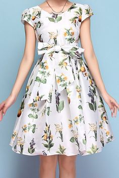 printed midi dress with a bow