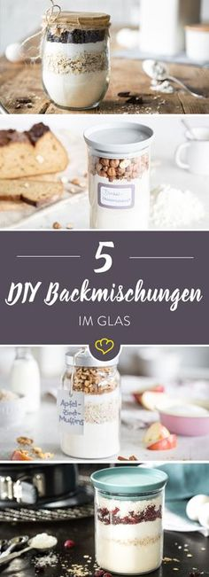 Geschenke aus der Küche: 5 Backmischungen im Glas Homemade baking mixes are not only great as a souvenir and gift from the kitchen for dear friends. Bottle open, contents out. Or to muffins. Ma Baker, Diy Gifts For Friends, Kitchen Gifts, Food Gifts, Baking Ingredients, Diy Food, Homemade Gifts, Food Inspiration, Bakery