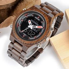 LED Digital Wood Watch for Men    Wood watches for men style internet unique products shops fashion for him date band awesome accessories gift ideas beautiful guys dads outfit boxes pictures man gifts casual For sale buy online Shopping Websites AuhaShop.com