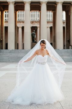 Lazaro Wedding Dress and Heirloom Veil