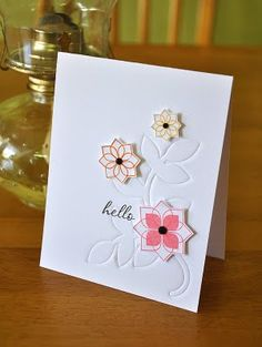 Love how Maile used her Modern Basics stamps to create these wonderful flowers.  Also really like the embossed look that she got using her Turning a New Leaf die!