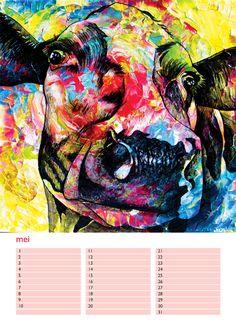 Op zoek naar een uniek en bijzonder kunstkado voor jezelf of om een ander mee te verrassen?(€9,95!) Professioneel kunstenaar Anita Ammerlaan uit Roosendaal heeft in eigen beheer een prachtige en unieke A4 verjaardagskalender uitgegeven. Voor €9,95 te koop bij Galerie Anita Ammerlaan, Markt 39 in Roosendaal(nb), vrijdag t/m zondag open van 12:00 tot 17:00. Verstuurd binnen Nederland heb je deze prachtige koeienkalender voor €13,95. Bestellen: info@anitaammerlaan.com