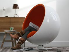 """The designer Eero Aarnio take inspiration from one of the simplest geometrical shapes, the ball, he created a chair fun yet refined design, the """"Ball Chair"""" Ball Chair, Egg Chair, Swivel Chair, Mid Century Modern Furniture, Contemporary Furniture, Funky Furniture, Furniture Design, Classic Furniture, Luxury Furniture"""