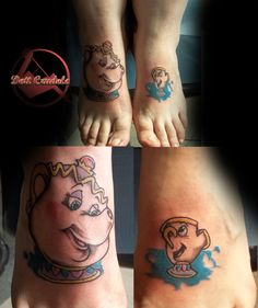 Beauty and the Beast tattoo by dottcrudele on DeviantArt Disney Tattoos, Chip Tattoo, Beauty And The Beast Tattoo, Deviantart Disney, Tattoo Video, Fashion Videos, Beauty Hacks Video, Couple Tattoos, Beauty Quotes