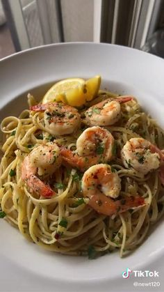 Linguine Recipes, Shrimp Recipes, Pasta Recipes, Dinner Recipes, Fun Baking Recipes, Cooking Recipes, Healthy Recipes, Healthy Food, Dinner Healthy