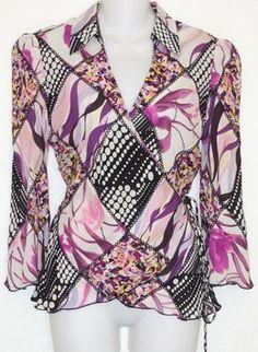 3f61f6a15402 Diane von Furstenberg Silk Wrap Top Multi Color Wrap Shirt