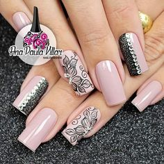 I love the designs on these nails, but not a fan of the shape Fabulous Nails, Perfect Nails, Great Nails, Cute Nails, Gorgeous Nails, Elegant Nail Designs, Toe Nail Designs, Airbrush Nails, Bridal Nail Art