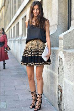 Printed skirt + strappy heels + simple black tank