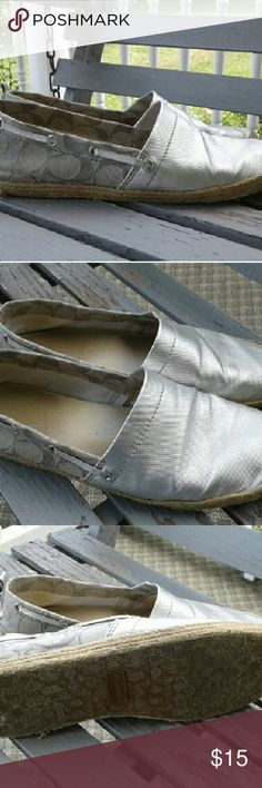 Coach Mellow silver espadrilles Used condition but still a lot of life left in these shoes! Coach Shoes Espadrilles