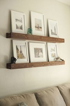 Create a DIY Photo Gallery with Style • Lots of Ideas & Tutorials! Including these barn beam photo ledges from this humble home.